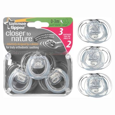 Tommee Tippee Closer To Nature Pure Soothers 0-3 Months x3