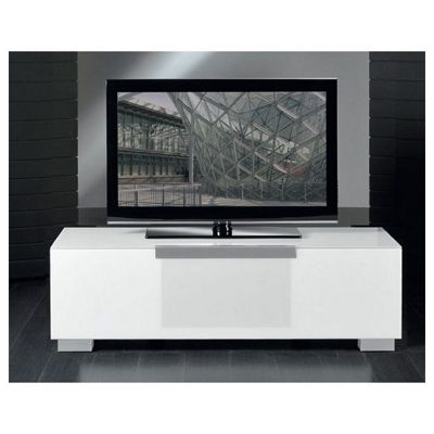 Triskom Stainless Steel / Glass TV Stand for LCD / Plasmas - White Glass