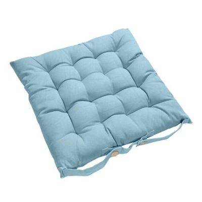 Homescapes Light Blue Plain Seat Pad with Button Straps 100% Cotton 40 x 40 cm