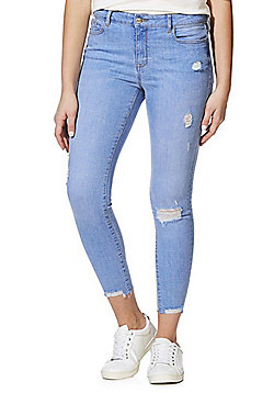 F&F Raw Hem Low Rise Ankle Grazer Skinny Jeans - Bright blue