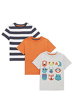 F&F 3 Pack of Animal Print, Stripe and Plain T-Shirts - Multi