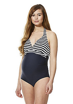 Mamalicious Striped Maternity Swimsuit - Navy/White