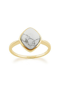 Gemondo 925 Gold Plated Sterling Silver 3.40ct Howlite Ring