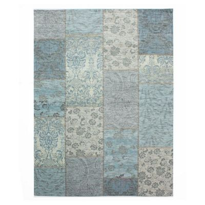 Manhattan patchwork chenille duck egg rug - 120x170 cm