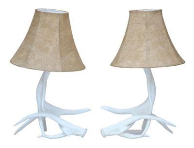 White Antler Table Lamp w/shade - pair