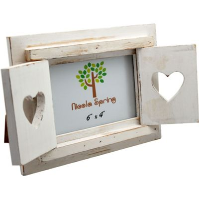 Nicola Spring White Wooden Heart Shutters Freestanding Photo Picture Frame - 6 x 4