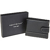 Equilibrium Mens Black Contrast Stich Leather Look Wallet