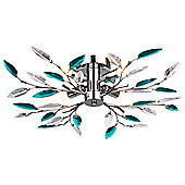 Modern Semi Flush Chrome Ceiling Light with Clear and Teal Acrylic Leaves