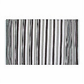 Homescapes Modern Black Grey Scandinavian Style Striped Cotton Rug, 66 x 200 cm