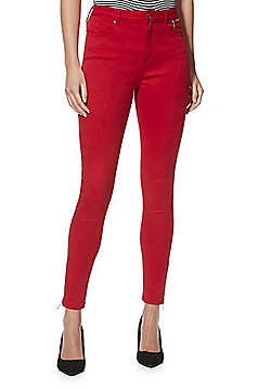 F&F Skinny Zip Ankle Twill Jeans - Red