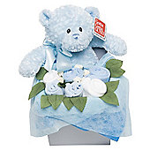 Flower Stork Teddy Bouquet Box Blue