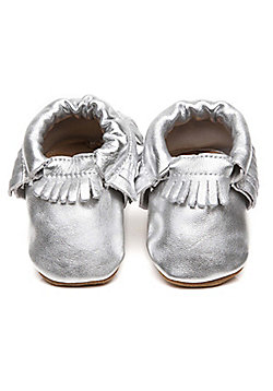 Olea London Moccasins Baby Shoes Silver - Silver