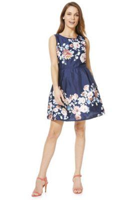 Mela London Rose Print Prom Dress Blue 10