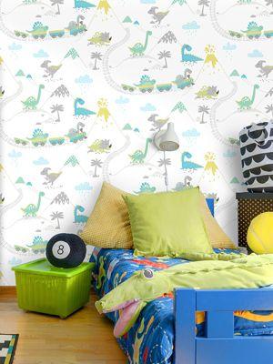 Dino Town Dinosaur Wallpaper Grey / Teal Holden 12531