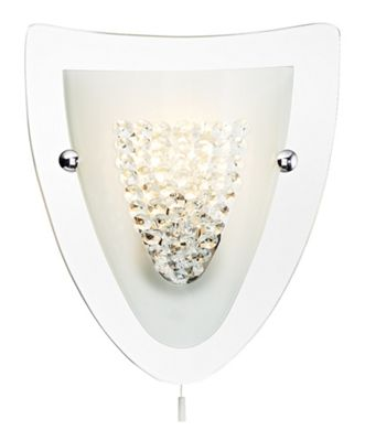 Mirrored Shield Wall Light with Crystal Beads and Switch