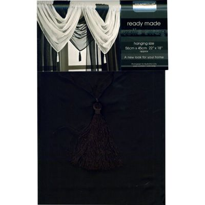 Ready Made Single Panel Voile Swag with Tassel 56 x 45cm Black