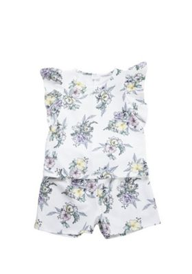 F&F Floral Print Top and Shorts Set White 7-8 years