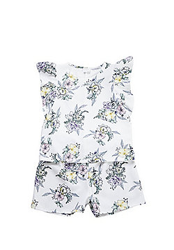 F&F Floral Print Top and Shorts Set - White
