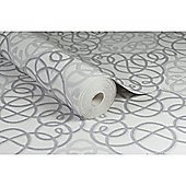 Boutique Ribbon Dance Geometric Silver/Grey Metallic Wallpaper