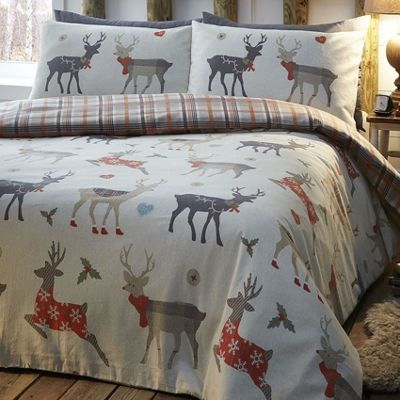 Reindeer, Check Single Bedding - 100% Brushed Cotton