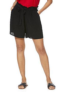F&F Paperbag Waist Shorts - Black