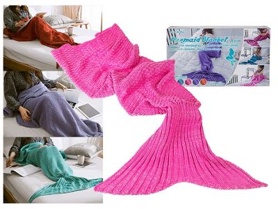 Children's Mermaid Tail Blanket (140cm x 70cm) - Pink