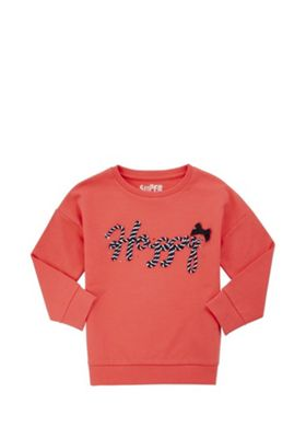 F&F 3D Happy Slogan Sweatshirt Red 5-6 years