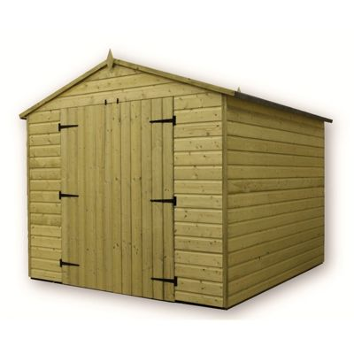 8 x 8 Maldon Windowless Premier Pressure Treated T&G Apex Shed + Higher Eaves & Ridge Height + Double Doors (8ft x 8ft)