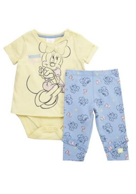 Disney Minnie Mouse Integrated Bodysuit Top and Leggings Set Yellow/Blue 0-1 months