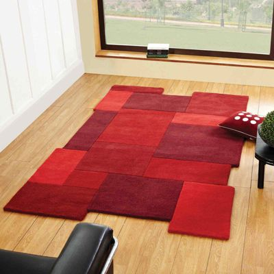 Abstract Collage Rugs in Red 120x180cm