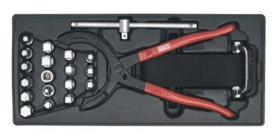 Sealey TBT28 - Tool Tray with Oil Filter Wrench, Pliers & Drain Plug Set 21pc