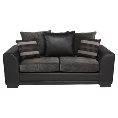 Inca leather effect & fabric sofabed charcoal