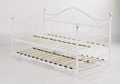 Madrid Metal Day Bed 3ft with Trundle White