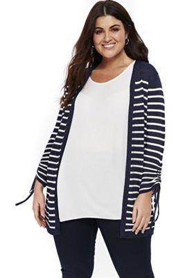 Evans Textured Stripe Plus Size Cardigan Navy 18