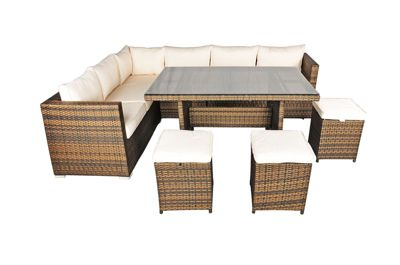 savannah rattan garden furniture 6 seat corner sofa glass top table dining set with free parasol - Rattan Garden Furniture Tesco