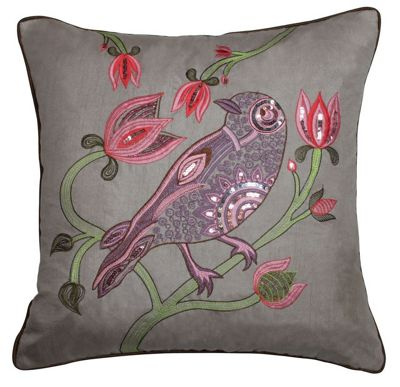Taupe Sequin Bird Cushion Embroidered Bird Finish