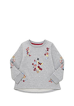 F&F Floral Embroidered Sweatshirt - Grey
