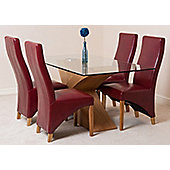 Valencia Glass & Oak 160 cm Dining Table with 4 Burgundy Lola Leather Chairs