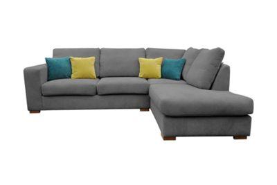 Verso Corner Sofa Fabric Grey Right