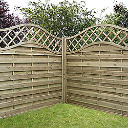 Mercia Horizontal Weave with Wavy Trellis Fence Panel 6ft Pressure Treated