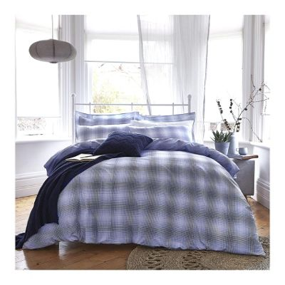 Bianca Cotton Soft Check Blue Duvet Cover Set - Single