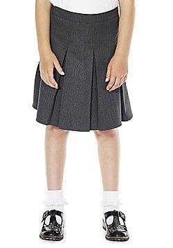 F&F School Girls Permanent Pleat School Skirt - Grey