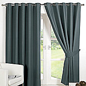 Dreamscene Eyelet Blackout Curtains PAIR of Thermal Ring Top Ready Made Luxury - Charcoal