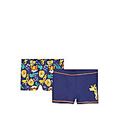 F&F 2 Pack of Jungle Animal Print Swimming Trunks - Navy