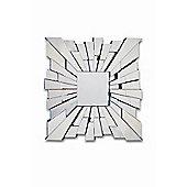 Square Modern Venitian Starburst Design All Glass Wall Mirror 3Ft 90Cm