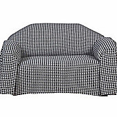 Homescapes Black Houndstooth 100% Cotton Bedspread Throw, 225cm x 255cm