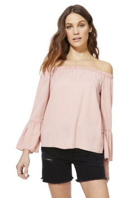 Only Bell Sleeve Bardot Top Pink S