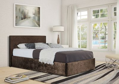 Comfy Living 3ft Single Crushed Velvet Ottoman Storage Bed Frame in Brown with Luxury Damask Mattress