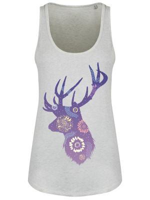 Flowerburst Stag Cream Heather Floaty Grey Women's Vest