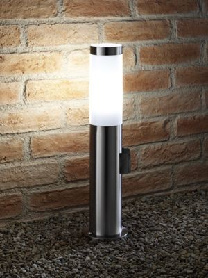 Auraglow IP44 Stainless Steel Outdoor Garden Path Post Light - 5w Cool White LED Light Bulb Included & Integrated 240V Plug Socket